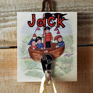 Personalised Cloakroom Hook Pirates