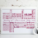 Personalised Wedding Day Timeline Art Print