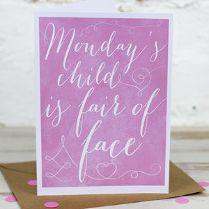 'Monday's Child' Card