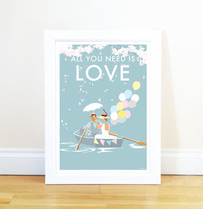 All You Need Is Love Vintage Style Poster