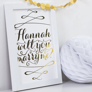 Personalised Gold Foil 'Will You Marry Me' Art Print - proposal ideas