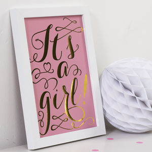 It's A Girl Gold Foil Print - posters & prints for children