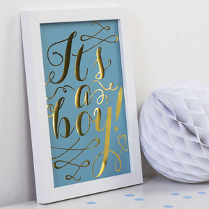 'It's A Boy' Gold Foil Print - wall hangings for children