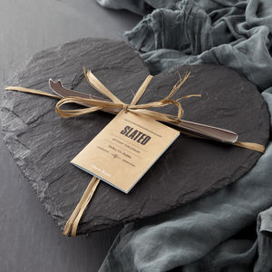 Slate Heart Cheese Board And Knife Set