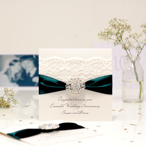 Opulence Emerald Wedding Anniversary Card - anniversary cards