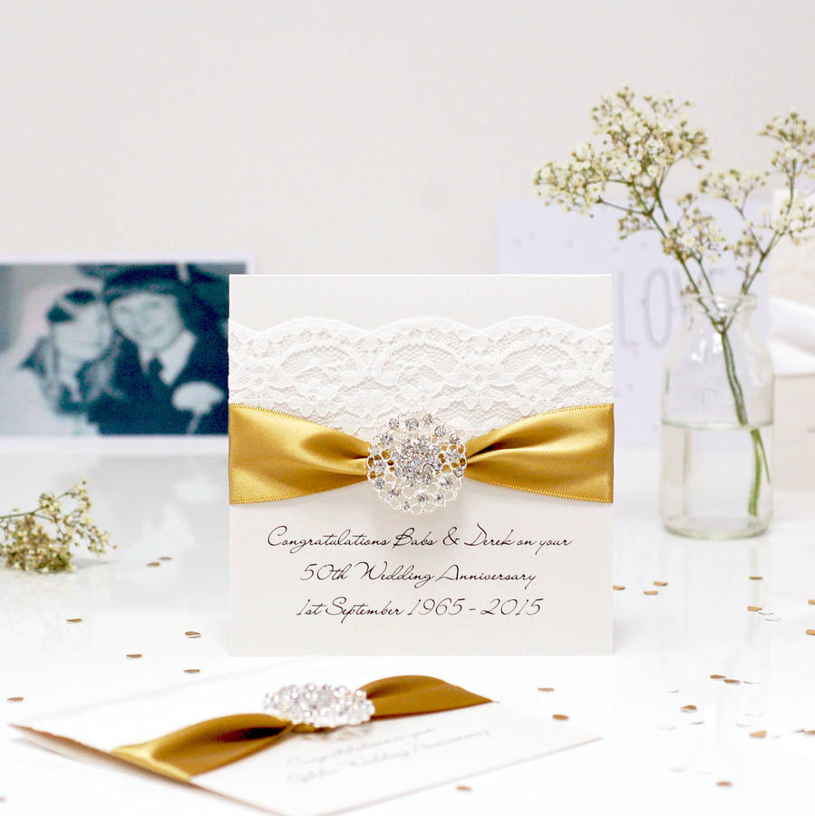 Opulence Personalised Golden Wedding Anniversary Card