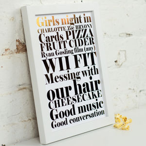 Personalised Metallic 'Girls Night In' Art Print - gifts for friends