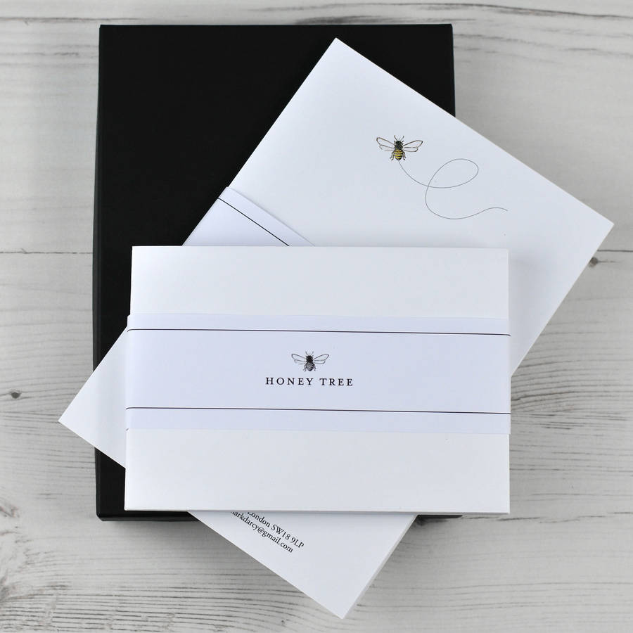 Boxed writing paper and envelopes