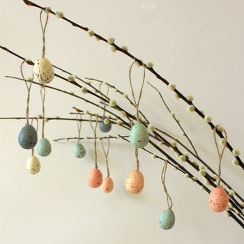 Set Of Twelve Easter Tree Speckled Eggs