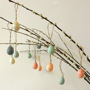 Set Of Twelve Easter Tree Speckled Eggs - decorative accessories