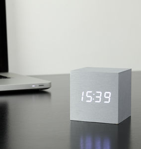 Cube Aluminium Click Clock - gifts for him