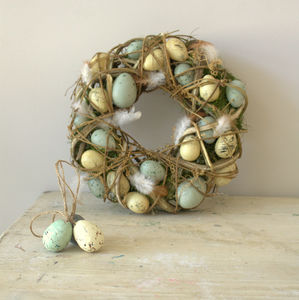 Speckled Egg And Feather Easter Wreath - easter home