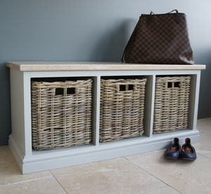 Storage Bench With Limed Oak Top And Wicker Baskets - benches