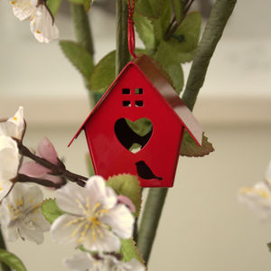 Red Birdhouse Decoration - hanging decorations