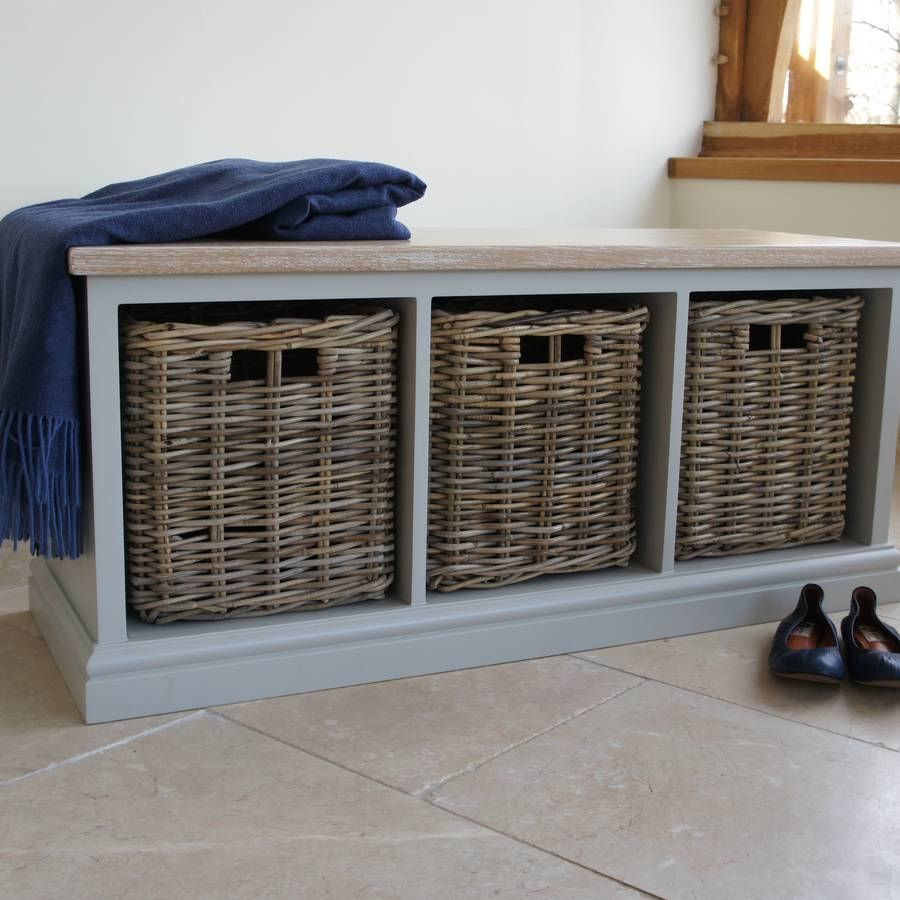 Storage Bench With Limed Oak Top And Wicker Baskets By Chatsworth Cabinets