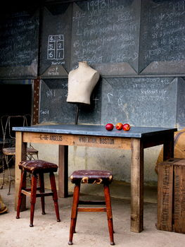 Zinc Topped Table Made Of Vintage Fruit Boxes