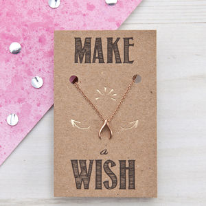 Make A Wish Wishbone Rose Gold Necklace - jewellery gifts for friends