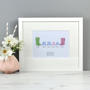 Welly Family Illustrated And Personalised Print