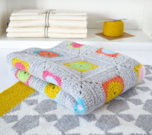 Luxury Granny Square Crochet Blanket Kit - sleeping