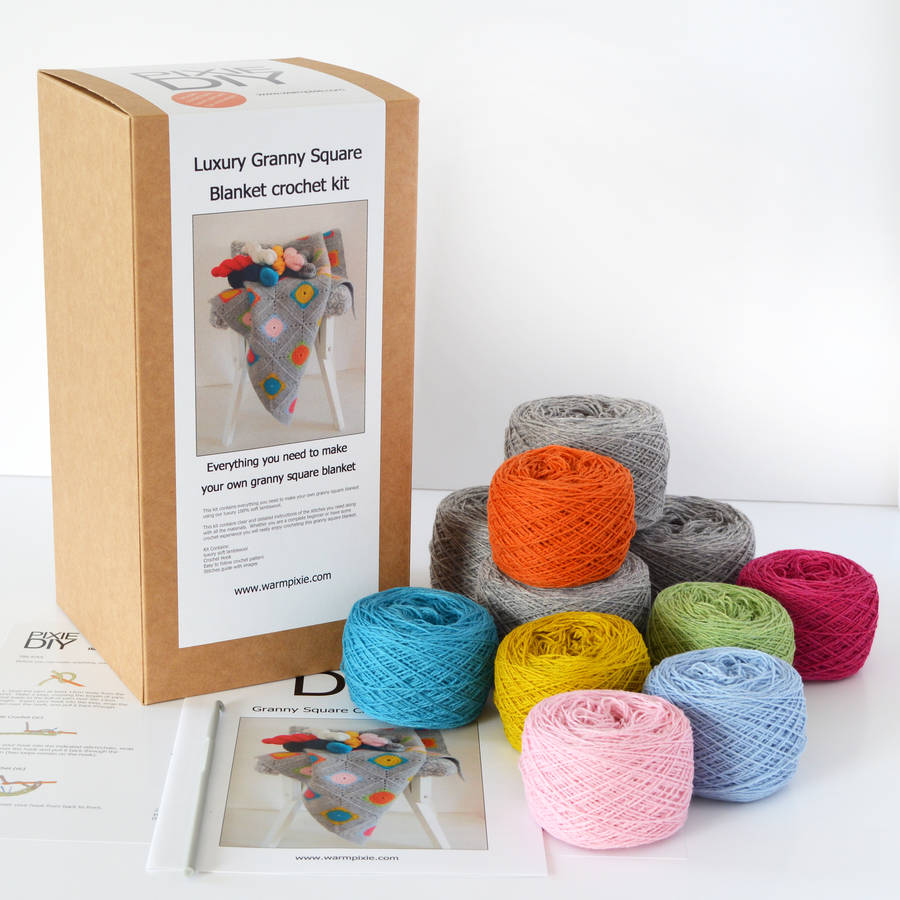Crochet Kits : homepage > WARM PIXIE DIY > LUXURY GRANNY SQUARE CROCHET BLANKET KIT