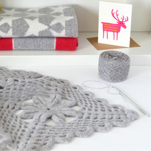 Luxury Crochet Soft Lambswool Throw Kit - gifts for her