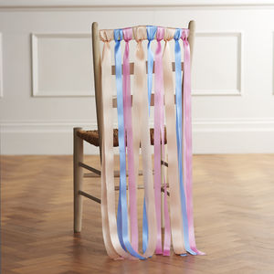 Pastel Wedding Chair Ribbons - macaron-inspired styling