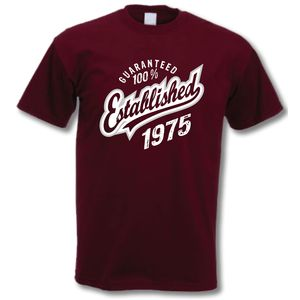 'Established 1975' 40th Birthday T Shirt - birthday gifts