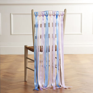Wedding Chair Back Ribbons In Summer Pastels - table decorations