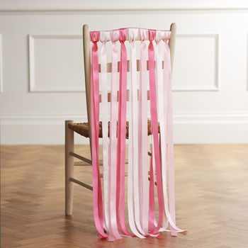 Wedding Chair Ribbons In Lipstick Pinks