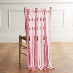 Wedding Chair Back Ribbons In Lipstick Pinks