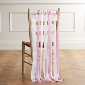 Wedding Chair Back Ribbons In Candy Pinks
