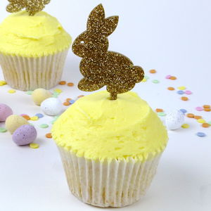 Gold Glitter Bunny Cake Toppers