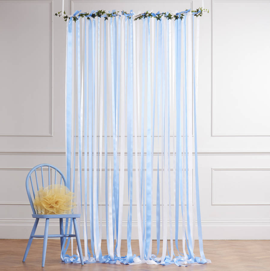 Bl blue stage curtains background - Ready To Hang Ribbon Curtain Backdrop Blue And White By Just Add A