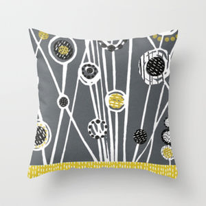 Mid Century Meadow Cushion: Grey - patterned cushions