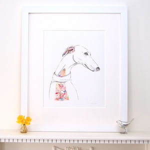 Floral Greyhound Dog Fine Art Print