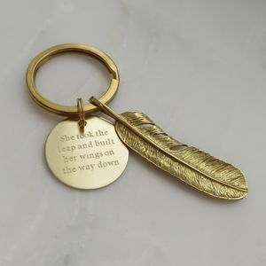 Brass Feather Keyring