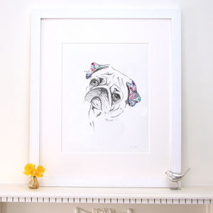 Lola Design Floral Pug Dog Fine Art Print - pet-lover