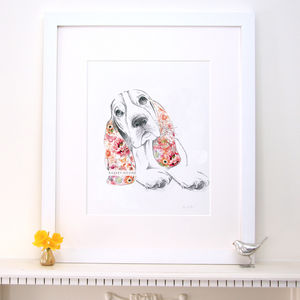 Lola Design Floral Basset Hound Dog Fine Art Print - pet-lover