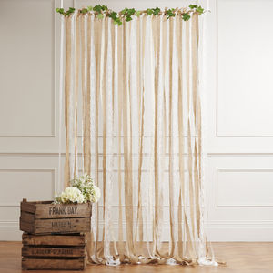 Ready To Hang Ribbon Curtain Backdrop Hessian And Lace - rustic wedding