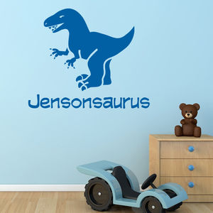 Personalised Dinosaur Wall And Door Sticker - bedroom