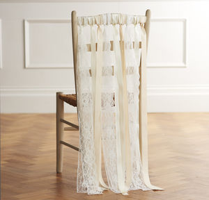 Wedding Chair Ribbons In Lace And Ribbon - rustic autumn wedding styling
