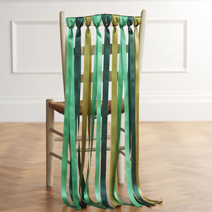 Wedding Chair Back Ribbons In Woodland Greens - christmas wedding styling