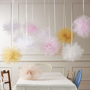 Pastel Net Pom Pom Hanging Wedding Decoration - outdoor decorations