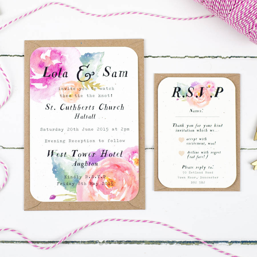 summer bloom wedding invitation by nina thomas studio