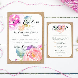 Pink Summer Bloom Wedding Invitation And RSVP Bundle - invitations