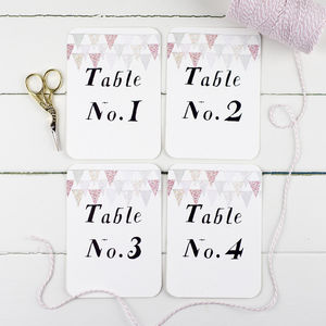 Pastel Bunting Wedding Table Number