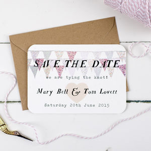 Pastel Bunting Wedding Save The Date