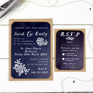 Chalkboard Wedding Invitation And RSVP - wedding stationery