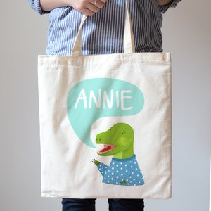 Personalised T Rex Dinosaur Kids Canvas Tote Bag