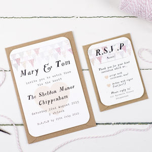 Pale Pink Country Bunting Wedding Invitation And RSVP